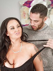 Tattooed Milf Maci Maguire giving titjob in stockings gets cum in cunt
