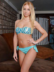 Pierced Euro teen babe Kiara Lord posing in bikini and panties