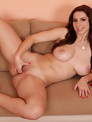 Cute brunette chick Vica showing off her big all natural breasts