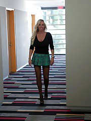 Housewife babe Sandra Otterson dressed in young girl clothing