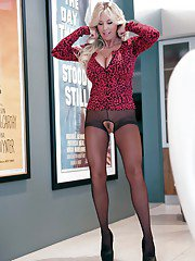 Older doll Sandra Otterson posing in high heels and crotchless panties