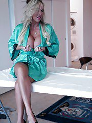 Buxom blonde mom Sandra Otterson posing in sexy lingerie and panties