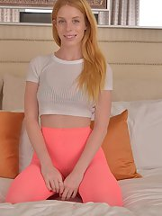 Redhead teen babe Alexia Sirens stripping out of bra and underwear