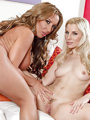 MILFs Ashley Fires and Richelle Ryan strip and have some lesbian fun