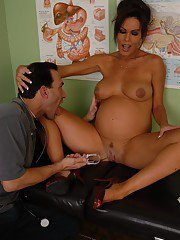 Pervy gyno plows mature pregnant Nancys cunt before cumming on her