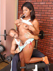Chubby black girl Annabelle riding white cock in cowgirl position