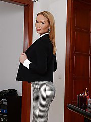 Office babe Kery Miller strips out of business clothes at work