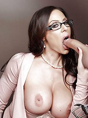 Gorgeous MILF Kendra Lust sucking balls and cock from tittie cumshot