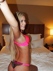 Blonde cutie Nadian strips and gets naked for nude self shots