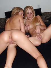 Two horny blonde girlfriends try lesbian sex action for first time