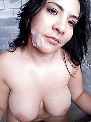 Plumper Kimberly shows off her big natural boobs before giving head