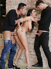 Horny studs use gorgeous European babe Anissa Kate in an MMF bang