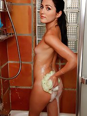 Tiny boobed first timer Renee Roulette caught nude in the shower