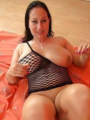 Big breasted fatty Barbie Buster swallows a huge mouthful of semen