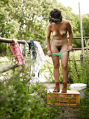 First time chunky amateur Laura N gets undressed in teh outdoors