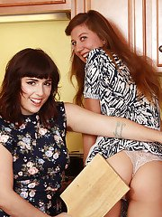 Hirsute lesbians Valentine and Simone Delilah munch on hairy pussy pie