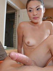 Asian first timer looks good sucking dick and likes a hard ass fucking