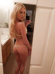 Gorgeous bubble butt blonde amateur Victoria W posing and bending over