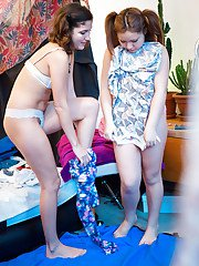 Chubby lesbian teens Anjali and Maylin dressing up after sex