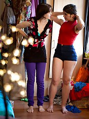 All natural girls Dannah and Gala getting dressed after lesbian sex