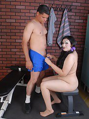 Plumper Terina gives hooked dick a bj and takes cumshot on fat tits