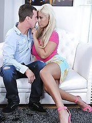 Buxom Latina cougar Bridgette B seduces a younger man and his large penis