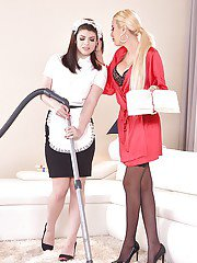 Hot lezdom sex action between dominant blond housewife and submissive maid