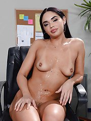 Busty brunette babe Selena Santana taking big cock from behind in office