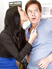 Buxom teacher Jasmine Jae licks the big dick of one of her students