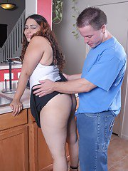 BBW Mercedez takes cumshot on her small breasts in the kitchen
