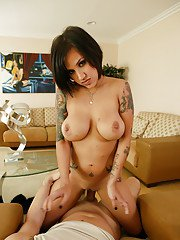 Tattooed slut with pierced tongue gives wicked blowjob to big cock