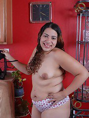 Latina chunker Mercedez pulls down panties to bare saggy tits and fat belly