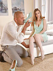 Euro model Stella Cox has stocking clad feet sucked on and shoes sniffed