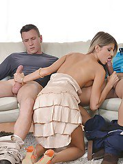 Slutty teen whore Gina having fun with two large dicks in a threesome