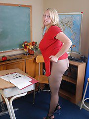 Chubby schoolteacher Christal lets her huge saggy tits loose