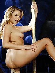Blonde stripper Mia Malkova does naughty striptease and spreads shaved cunt