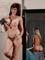 Nasty MILF domme fucks her teen sluts pussy with massive strapon