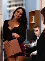 Busty office workers Abbey Lee Brazil and Valentina Nappi fuck co-worker