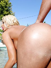 Buxom blonde mom Courtney Taylor takes huge dick up filthy asshole by pool