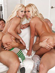 Busty blonde whore Riley Evans getting ass fucked with Lea Lexis