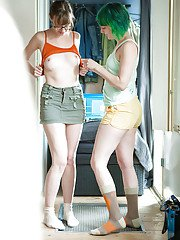 Gorgeous lesbian teens Bobbie and Mila dressing up after having sex