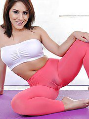 Latina hottie Liv Aguilera slides yoga pants down around ankles and feet