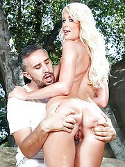 Platinum blonde Riley Jenner takes long cock up filthy asshole outdoors