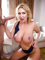 Blonde slut Leigh Darby wraps her lips and tongue around long cock