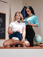 MILF schoolteacher in glasses seduces her barely legal student for dyke sex