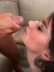 Slender Latina slut Becky riding cock and taking cumshot in mouth