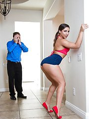 Flexible teenager Abella Danger poses fully clothed upside down