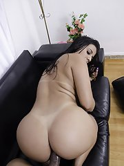 Big booty Latina Aline Rios taking condom covered cock in shaved pussy