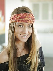 Young bandanna adorned pornstar Remy Lacroix flashing small teen tits