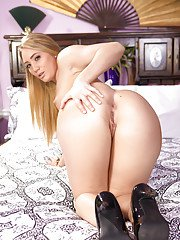 Blonde MILF AJ Applegate getting undressed in bedroom and baring shaved box